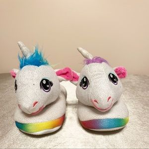 NWOT Build A Bear girls unicorn rainbow slippers S